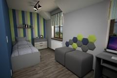 058. pokoj mlodziezowy niebieski zielony szary drewno panele tapicerowane paski children room blue green grey wood stripes