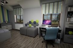 059. pokoj mlodziezowy niebieski zielony szary drewno panele tapicerowane paski children room blue green grey wood stripes
