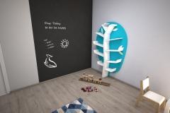 060. pokoj dzieciecy polka drzewko timoore turkusowy farba tablicowa drewno lozko domek children room tree shelf wood