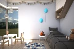 062.  pokoj dzieciecy polka drzewko timoore turkusowy farba tablicowa drewno lozko domek children room tree shelf wood
