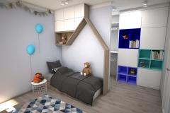 063.  pokoj dzieciecy polka drzewko timoore turkusowy farba tablicowa drewno lozko domek children room tree shelf wood