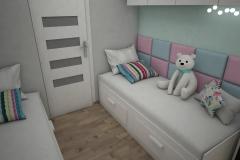 064. pokoj dzieciecy z tapicerowanm oparciem bialy turkusowy rozowy meble ikea cottonballs children room pink green white