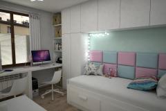 065. pokoj dzieciecy z tapicerowanm oparciem bialy turkusowy rozowy meble ikea cottonballs children room pink green white