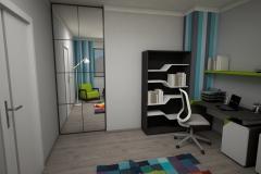 067. pokoj młodziezowy farba tablicowa meble timoore drewno szary niebieski zielony children room wood grey blue green