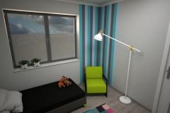 068. pokoj młodziezowy farba tablicowa meble timoore drewno szary niebieski zielony children room wood grey blue green
