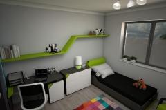 069. pokoj młodziezowy farba tablicowa meble timoore drewno szary niebieski zielony children room wood grey blue green