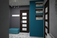 0011. przedpokoj szary turkusowy plytki patchwork hall grey concrete patchwork tile