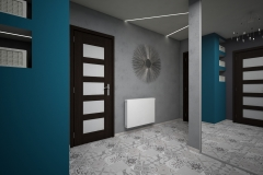 0012. przedpokoj szary turkusowy plytki patchwork hall grey concrete patchwork tile
