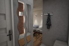 019. przedpokoj szary drewno cegla lustro wieszak hall grey wood brick mirror hanger