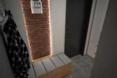 020. przedpokoj szary drewno cegla lustro wieszak hall grey wood brick mirror hanger