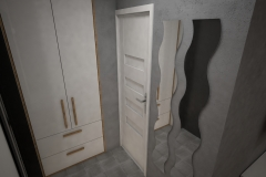 021. przedpokoj szary drewno cegla lustro wieszak hall grey wood brick mirror hanger