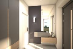 023. przedpokoj szary drewno lustro beton hall grey wood concrete