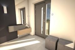 024. przedpokoj szary drewno lustro beton hall grey wood concrete