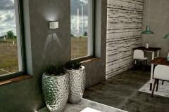 001. cafe bar beton ciemne drewno biale turkusowy niebieski kinkiety concrete dark wood white wood turquoise wall lamp