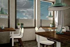 002. cafe bar beton ciemne drewno biale turkusowy niebieski kinkiety concrete dark wood white wood turquoise wall lamp