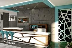 003. cafe bar beton ciemne drewno biale turkusowy niebieski kinkiety concrete dark wood white wood turquoise wall lamp