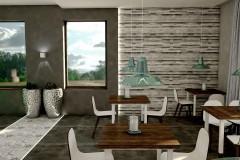 004. cafe bar beton ciemne drewno biale turkusowy niebieski kinkiety concrete dark wood white wood turquoise wall lamp