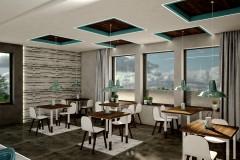005. cafe bar beton ciemne drewno biale turkusowy niebieski kinkiety concrete dark wood white wood turquoise wall lamp
