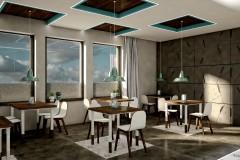 006. cafe bar beton ciemne drewno biale turkusowy niebieski kinkiety concrete dark wood white wood turquoise wall lamp