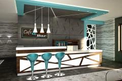 007. cafe bar beton ciemne drewno biale turkusowy niebieski kinkiety concrete dark wood white wood turquoise wall lamp