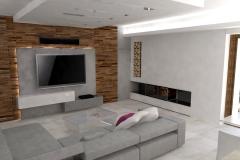 0001. Nowoczesny salon beton drewno