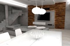 0005. Nowoczesny salon beton drewno