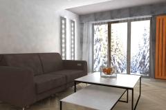 0035. Pokój w kolorach betonu z pomarańczowym akcentem