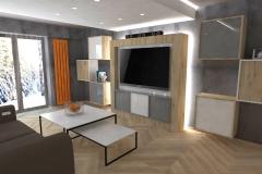 0036. Pokój w kolorach betonu z pomarańczowym akcentem