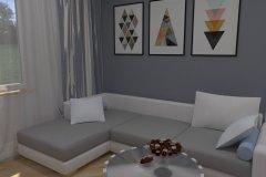 0037. Salon prowansalski bialy drewno szary Salon Provençal white wood gray