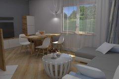 0038. Salon prowansalski bialy drewno szary Salon Provençal white wood gray