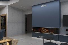 0039. Salon niebieski drewno beton salon blue wood concrete