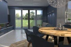 0041. Salon niebieski drewno beton salon blue wood concrete