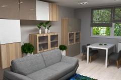 0043.  salon male mieszkanie niebieski szary livingroom small apartaments blue grey