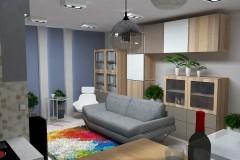 0044. salon male mieszkanie niebieski szary livingroom small apartaments blue grey