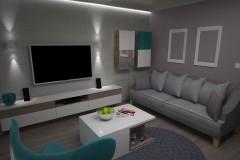 0045. salon male mieszkanie beton szary turkus small livingroom concrete grey turquoise