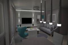0046.  salon male mieszkanie beton szary turkus small livingroom concrete grey turquoise