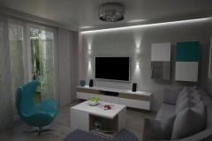0047.  salon male mieszkanie beton szary turkus small livingroom concrete grey turquoise