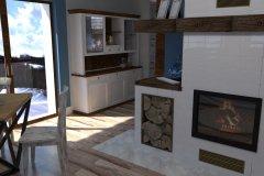 0053. salon z kominkiem bialy drewno kredens prowansalski living room white fireplace wood