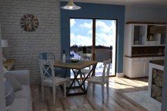0054. salon z kominkiem bialy drewno kredens prowansalski living room white fireplace wood