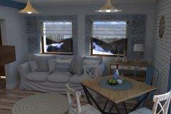 0055. salon z kominkiem bialy drewno kredens prowansalski living room white fireplace wood