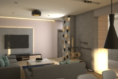 0056. salon drewno beton bez braz czarny zloty led livingroom wood concrete beige brown black gold