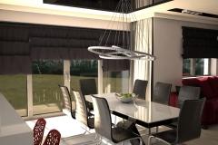 0060. salon czerwona sofa czarne rolety krysztalowy zyrandol livinngroom red sofa black rolet cristal pendat