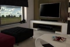 0061. salon czerwona sofa czarne rolety krysztalowy zyrandol livinngroom red sofa black rolet cristal pendat