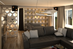 0064. salon beton jasne drewno szary bialy polysk zloty livingroom concrete light wood white gloss gold
