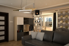 0065. salon beton jasne drewno szary bialy polysk zloty livingroom concrete light wood white gloss gold