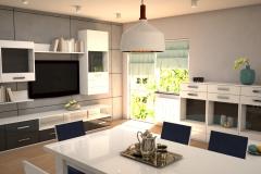 066. salon szary beton bialy polysk grafitowy drewno livingroom grey concrete white gloss wood