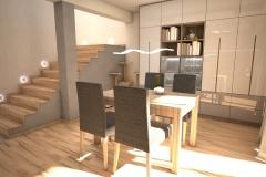 070. salon z jadalnia drewno szary bezowy klatka schodowa livingroom dining room wood staircase grey beige