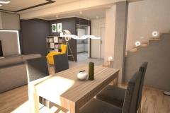 071. salon z jadalnia drewno szary bezowy klatka schodowa livingroom dining room wood staircase grey beige