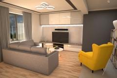 072. salon z jadalnia drewno szary bezowy klatka schodowa livingroom dining room wood staircase grey beige