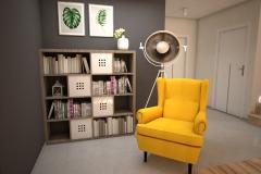 073. salon z jadalnia drewno szary bezowy klatka schodowa livingroom dining room wood staircase grey beige yellow armchair